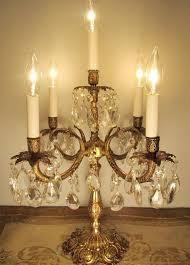 vintage candelabra table lamp solid brass crystals 5