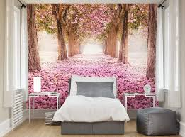 Yonder Wallpaper Mural feature wall of a magical woodland forest full of  pink blossom for a
