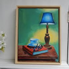Still life: books and lamp. 30x40cm