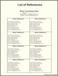 How To Type References For Resume Free Reference List Template For Resume References Word