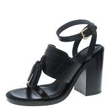 burberry black leather bethany tassel detail block heel sandals size 40 nextprev prevnext