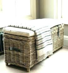 wicker storage bench outdoor seat appealing rattan wood with baskets wicker bench with storage