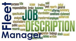 Job Description Of The Logistics Or Fleet Manager