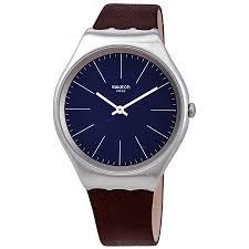 swatch skinoutono blue dial men s leather watch syxs106c