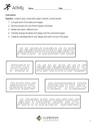Animal Genus Chart Animal Classification Grades 1 3