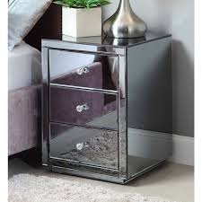 home and furniture extraordinary glass bedside table on venetian mirrored with three drawers and glass