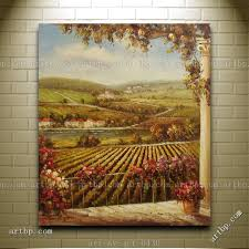 oil painting of landscape house garden vineyard tuscan scene canvas modern decor texture acrylic painting