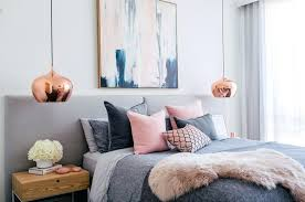Pink And Gray Room Gray And Pink Bedroom With Copper Lights Pink ...