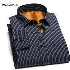 wool shirt mens winter warm thick in side dress men striped plaid keep casual thermal for