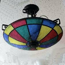 colored glass light fixtures multi color ceiling light antique vintage image no modern colored glass