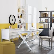 design office desk home. View In Gallery Spacious Home Office White And Yellow With The Spotlight Desk Design O