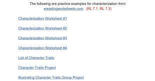 Characterization Worksheet | Homeschooldressage.com