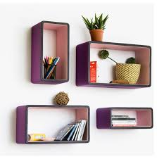 Purple Floating Shelves Classy Floating Box Shelves White Gloss Media Shelves Combo Shot