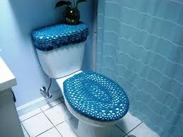 blue crocheted toilet cover set