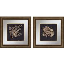 paragon gold coral ii by wilson 23 x 23 inch wall art set on set of two framed wall art with framed coral wall art bellacor