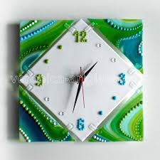 fused glass wall clock universe fused