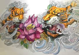 тигры эскиз к тату