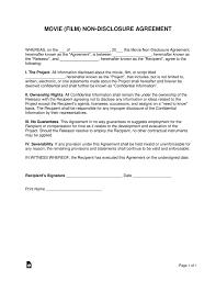 Nda Template Agreement Movie Film Non Disclosure Agreement Nda Template Eforms Free