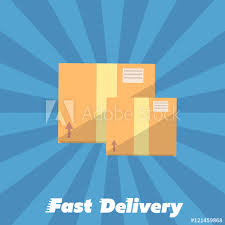 Closed Cardboard Boxes Isolated On Striped Blue Background Fast