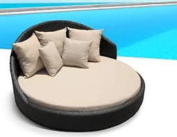 Amazoncom Outdoor Patio Wicker Furniture Pool Lounge All Weather Garden Round Double  Bed Set U2026 Tan