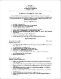 Aerospace Aviation Resume Occupational Examples Samples Free