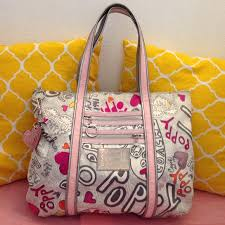 Coach Poppy Graffiti Glam Tote Large
