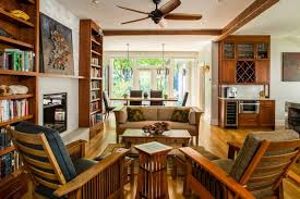 craftsman furniture. Craftsman Open Concept Living Room Design With Medium Toned Hardwood Floors Furniture Book Shelves