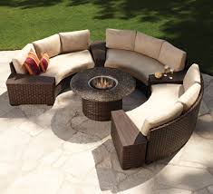 circular furniture. Half Circular Wicker Chairs And Round Coffee Table For Best Patio Furniture Sets With Fire Pit Flagstone Floor A