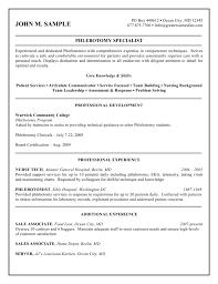 Sample Phlebotomy Resume Gallery Creawizard Com