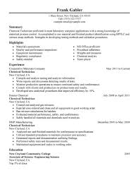 Chemical Technician Cover Letter