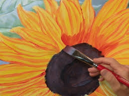 painting a sunflower with acrylic paint
