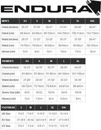 Endura Hummvee Size Chart 72 Organized Endura Mt500 Size Chart