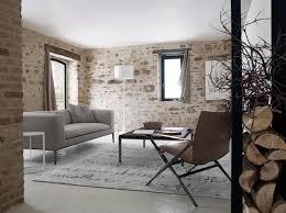 stone wall modern living room
