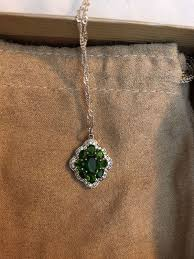 3 5ct russian chrome diopside pendant and chain