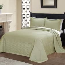 american traditions french tile quilted sage queen bedspread