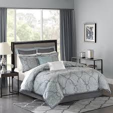com madison park mp10 1665 lavine 12piece jacquard comforter set queen blue queen blue queen home kitchen