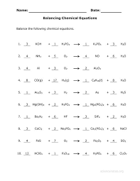 answer key for the balance chemical equations worksheet eigram equation worksheets and chemistry