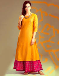 Plain Kurti Design For Stitching Poly Silk Orange Plain Unstitched Palazzo Style Suit S1018