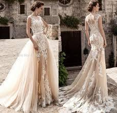 vintage champagne lace mermaid wedding dresses 2017 detachable