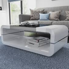 high gloss white curved coffee table with black glass top tiffany white coffee marronrich