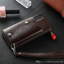 whole wallet style leather mobile phone case cell phone pouch stand flip with wrist strap for iphone x 8 7 6 6s custom leather cell phone cases
