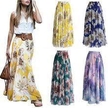 <b>ZOGAA Women</b> Elegant Pleated Skirts Boho Casual Loose Floral ...