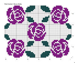 Filet Crochet Charts And Graphs Roses Doily Ver 2 Stitchmeknot Creations
