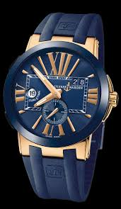 Dual 246-00-3-43 – Executive Ref Gold Rose Ulysse Timepieces Dial Nardin Time Blue Exclusive