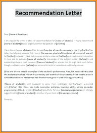 Recommendation Letter For Student Scholarship Recommendation Letter Templates Free Sample Format Template Section