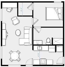 24 x 24 Garage conversion, 576 SF. Complete kitchen with stacking  washer/dryer. Apartment Floor PlansApartment ...