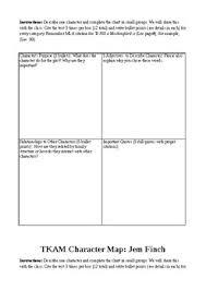 Tkam Character Chart To Kill A Mockingbird Character Maps Characterization Grade 8 9 10 Reading Strat
