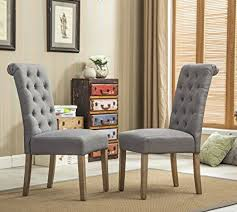 roundhill furniture habit grey solid wood tufted parsons dining chair set of 2