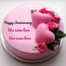 Beautiful Pink Heart Anniversary Cake With Lover Name