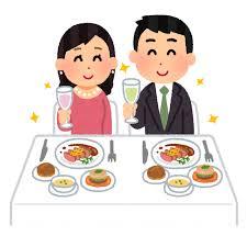 レストランでディナーを食べるカップルのイラスト | かわいいフリー ...